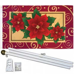 Poinsettias Christmas 3' x 5' Polyester Flag, Pole and Mount