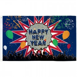 Happy New Year 3' x 5' Polyester Flag
