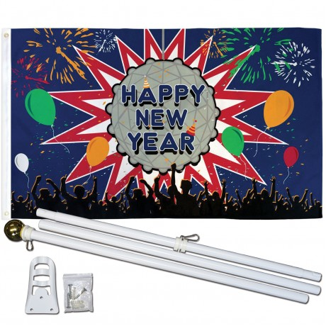 Happy New Year 3' x 5' Polyester Flag, Pole and Mount