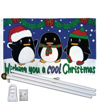 Wishing You A Cool Christmas 3' x 5' Polyester Flag, Pole and Mount