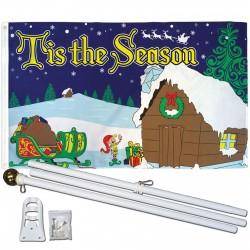 Tis The Season Christmas 3' x 5' Polyester Flag, Pole and Mount