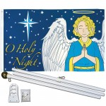O Holy Night Christmas 3' x 5' Polyester Flag, Pole and Mount