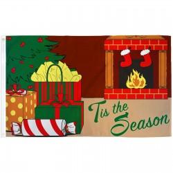 Tis The Season Fireplace Christmas 3' x 5' Polyester Flag