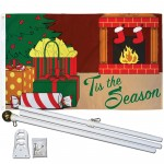 Tis The Season Fireplace Christmas 3' x 5' Polyester Flag, Pole and Mount