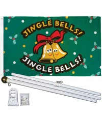 Jingle Bells Christmas 3' x 5' Polyester Flag, Pole and Mount