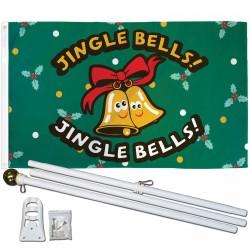 Jingle Bells Christmas 3' x 5' Polyester Flag, Pole and Mount