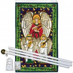Joyous Angel Vertical Christmas 3' x 5' Polyester Flag, Pole and Mount