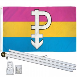 Pansexual Pride 3' x 5' Polyester Flag, Pole and Mount