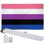 Gender Fluid Pride 3' x 5' Polyester Flag, Pole and Mount