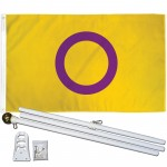 Intersex Pride Symbol 3' x 5' Polyester Flag, Pole and Mount