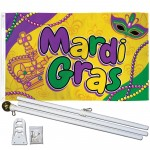 Mardi Gras Beads 3' x 5' Polyester Flag, Pole and Mount