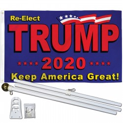 Trump 2020 Keep America Great 3' x 5' Polyester Flag, Pole and Mount
