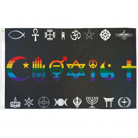 Coexist Rainbow 3' x 5' Polyester Flag