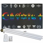 Coexist Rainbow 3' x 5' Polyester Flag, Pole and Mount