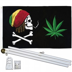 Joint Rasta Crossbones 3' x 5' Polyester Flag, Pole and Mount
