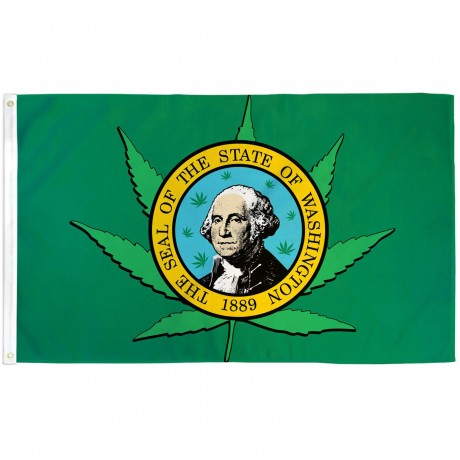 Washington State Pot Leaf 3' x 5' Polyester Flag