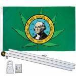 Washington State Pot Leaf 3' x 5' Polyester Flag, Pole and Mount