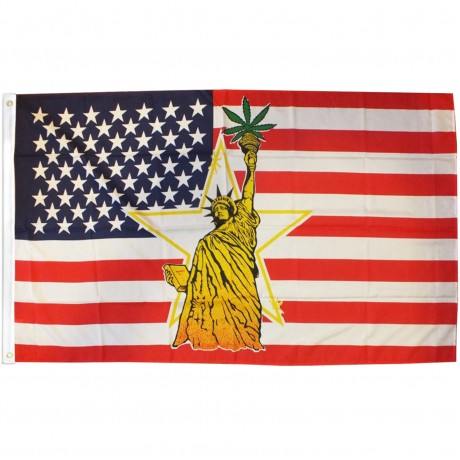 Statue of Liberty Pot Leaf 3' x 5' Polyester Flag
