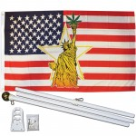 Statue of Liberty Pot Leaf 3' x 5' Polyester Flag, Pole and Mount