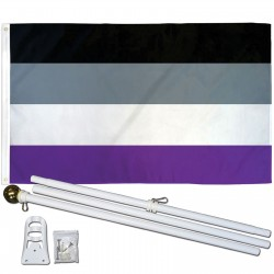 Asexual Pride 3' x 5' Polyester Flag, Pole and Mount