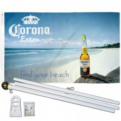 Corona Extra Find Your Beach 3' x 5' Polyester Flag, Pole and Mount
