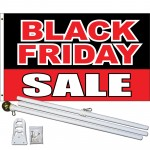Black Friday Sale Black Red 3' x 5' Polyester Flag, Pole and Mount