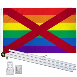 Alabama Rainbow Pride 3 'x 5' Polyester Flag, Pole and Mount