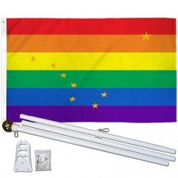 Alaska Rainbow Pride 3 'x 5' Polyester Flag, Pole and Mount