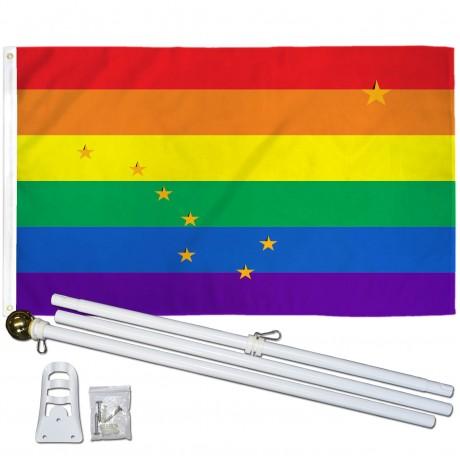 Alaska Rainbow Pride 3 'x 5' Polyester Flag, Pole and Mount