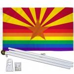 Arizona Rainbow Pride 3 'x 5' Polyester Flag, Pole and Mount