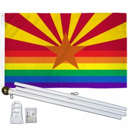Arizona Rainbow Pride 3 'x 5' Polyester Flag, Pole and Mount