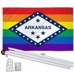 Arkansas Rainbow Pride 3 'x 5' Polyester Flag, Pole and Mount