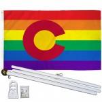 Colorado Rainbow Pride 3 'x 5' Polyester Flag, Pole and Mount