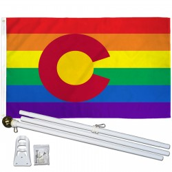 Colorado Rainbow Pride 3 'x 5' Polyester Flag, Pole and Mount