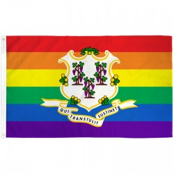 Connecticut Rainbow Pride 3 'x 5' Polyester Flag
