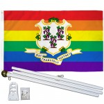Connecticut Rainbow Pride 3 'x 5' Polyester Flag, Pole and Mount