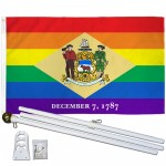 Delaware Rainbow Pride 3 'x 5' Polyester Flag, Pole and Mount