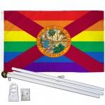 Florida Rainbow Pride 3 'x 5' Polyester Flag, Pole and Mount