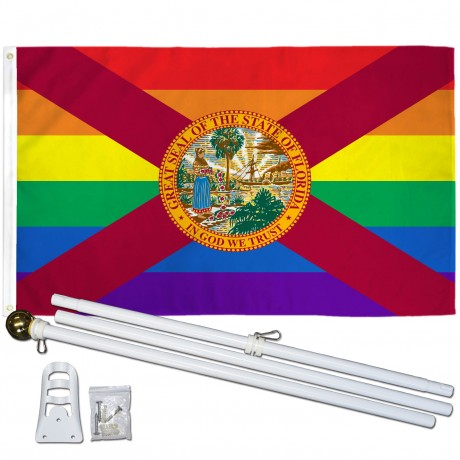 Florida Rainbow Pride 3 'x 5' Polyester Flag, Pole and Mount
