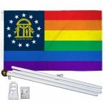 Georgia Rainbow Pride 3 'x 5' Polyester Flag, Pole and Mount