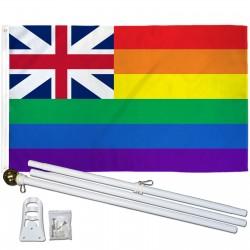 Hawaii Rainbow Pride 3 'x 5' Polyester Flag, Pole and Mount