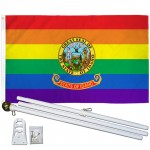 Idaho Rainbow Pride 3 'x 5' Polyester Flag, Pole and Mount