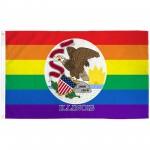 Illinois Rainbow Pride 3 'x 5' Polyester Flag