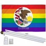 Illinois Rainbow Pride 3 'x 5' Polyester Flag, Pole and Mount