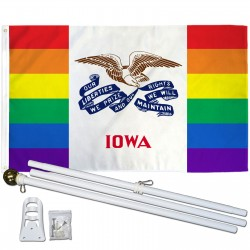 Iowa Rainbow Pride 3 'x 5' Polyester Flag, Pole and Mount
