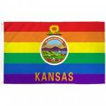 Kansas Rainbow Pride 3 'x 5' Polyester Flag