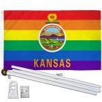 Kansas Rainbow Pride 3 'x 5' Polyester Flag, Pole and Mount