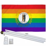 Kentucky Rainbow Pride 3 'x 5' Polyester Flag, Pole and Mount