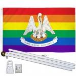 Louisiana Rainbow Pride 3 'x 5' Polyester Flag, Pole and Mount