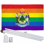 Maine Rainbow Pride 3 'x 5' Polyester Flag, Pole and Mount